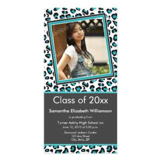 Leopard Print Graduation Photo Announcement (aqua) Personalized Photo Card