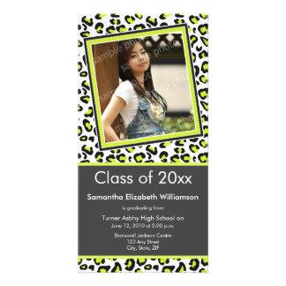 Leopard Print Graduation Photo Announcement (lime) Custom Photo Card