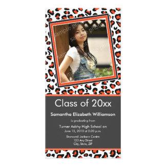 Leopard Print Graduation Photo Announcement orange Photo Card Template
