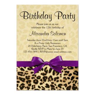 "Leopard Print Grape Purple Bow Girl Birthday Party 4.5"" X 6.25"" Invitation Card"