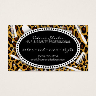 Leopard Print Hair & Beauty Appointment Business Card