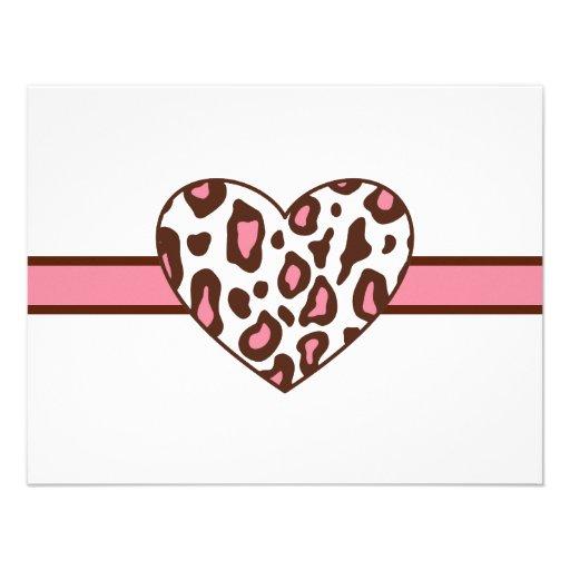 Leopard Print Heart Invitations