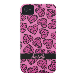 Leopard print hearts iPhone 4/4S Case