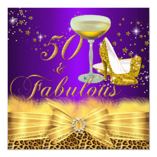 Leopard Print & Heels Purple 50 & Fabulous Card