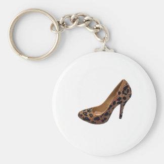Leopard Print High Heel Shoe Pump Basic Round Button Keychain
