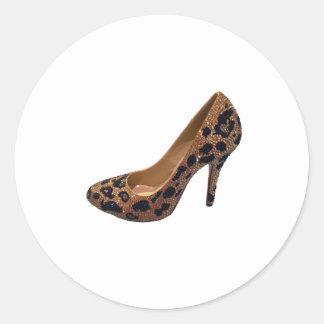 Leopard Print High Heel Shoe Pump Classic Round Sticker