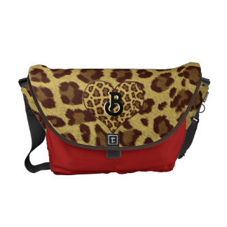 leopard print initial bag red commuter bag