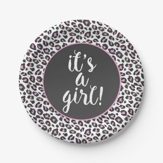 Leopard print It's A Girl plate 7 Inch Paper Plate