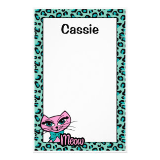 Leopard Print Kitty Stationery