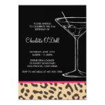 Leopard Print Martini Birthday Invitations