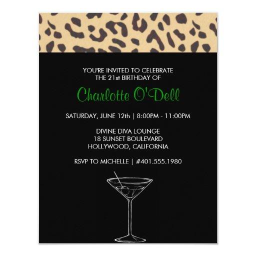 "leopard print   martini; birthday party 4.25"" x 5.5"" invitation card"