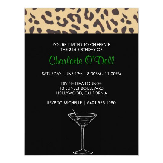 "leopard print | martini; birthday party 4.25"" x 5.5"" invitation card"