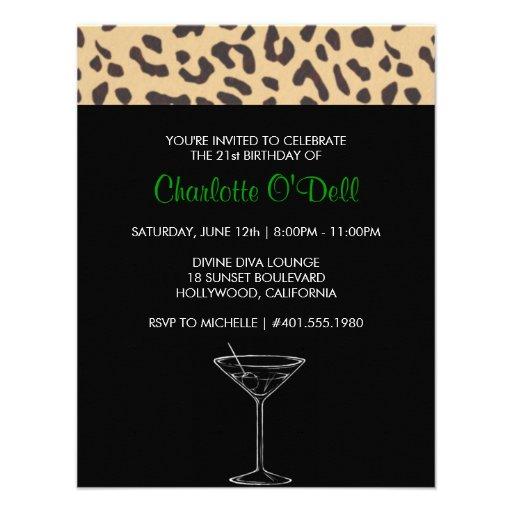 leopard print | martini; birthday party custom announcements