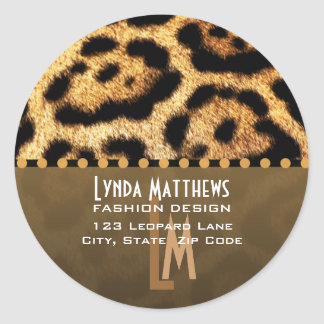 Leopard Print Monogram Address Labels Round Sticker