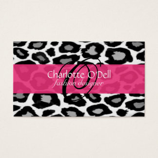 Leopard Print Monogram Business Cards