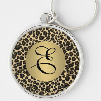 Leopard Print Monogram Silver-Colored Round Keychain