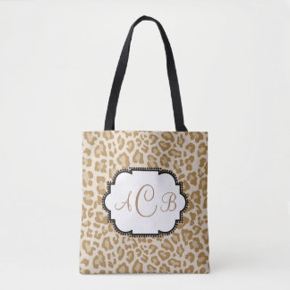 Leopard Print Monogram With Your Own Letters Tote