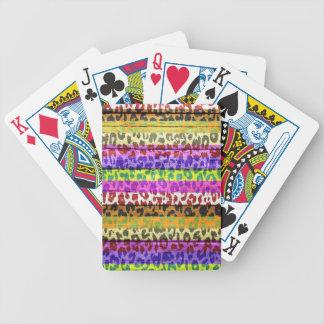 Leopard Print on Wood Poker Deck