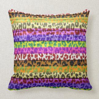 Leopard Print on Wood Throw Pillow