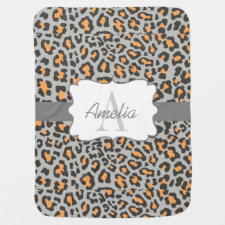 Leopard Print Orange Black Gray Swaddle Blanket