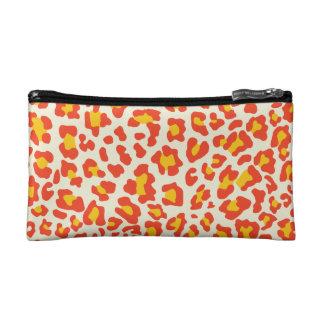 Leopard Print Orange, Yellow, White Cosmetics Bags