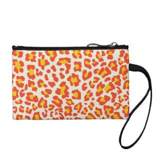 Leopard Print Orange, Yellow, White Coin Wallet