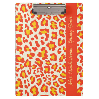 Leopard Print Orange Yellow White Custom Clipboard