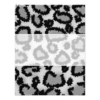 Leopard Print Pattern Black and Gray Personalized Announcement