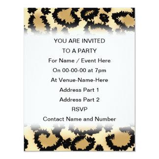 "Leopard Print Pattern, Brown and Black. 4.25"" X 5.5"" Invitation Card"