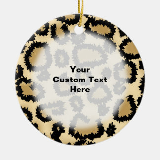 Leopard Print Pattern, Brown and Black. Ceramic Ornament