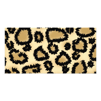 Leopard Print Pattern, Brown and Black. Personalized Photo Card