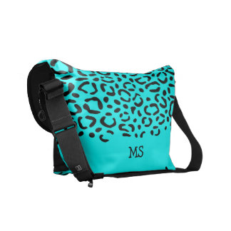 Leopard Print Pattern Custom Initials Neon Blue Messenger Bag