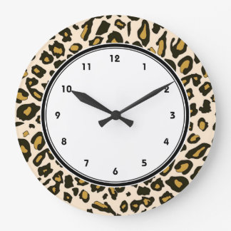 Leopard print pattern large clock