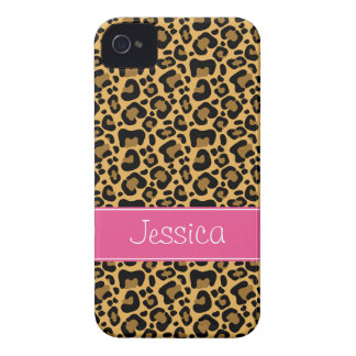 Leopard Print Pattern Pink Personalized iPhone 4 Covers