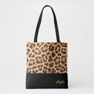 Leopard Print Personalised Tote Bag