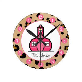 Leopard Print Personalized Clock For Teachers