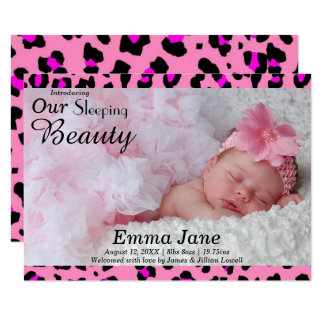 Leopard Print Photo - 3x5 Birth Announcement