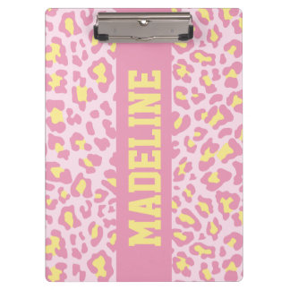 Leopard Print Pink and Yellow Custom Clipboard