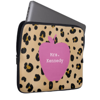Leopard Print Pink Apple Teacher Computer Sleeves