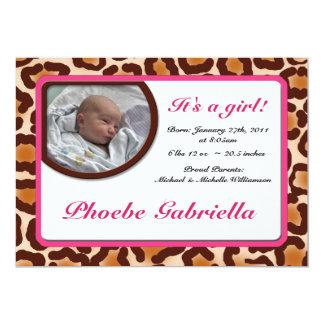 Leopard Print Pink Birth Announcements
