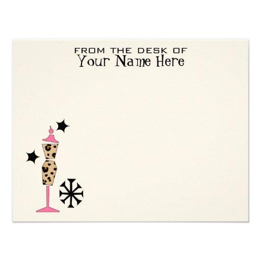 Leopard Print & Pink Dress Form Flat Notecards Invitation