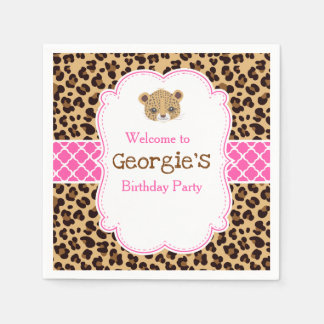 Leopard Print Pink Qua trefoil Birthday Party Napkin