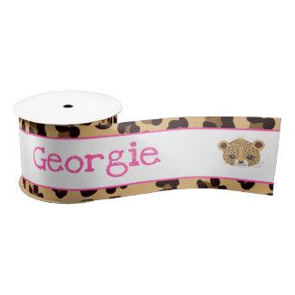 Leopard Print Pink Quatre foil Gift Satin Ribbon