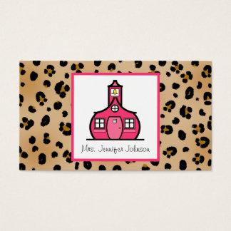 Leopard Print Pink Schoolhouse Teacher Business Card