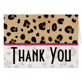 Leopard Print & Pink Thank You Card