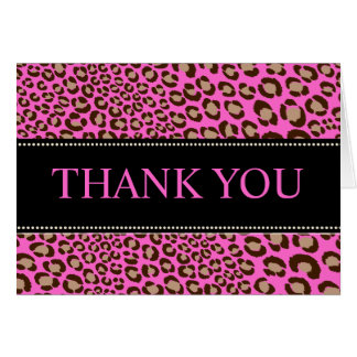Leopard Print/pink/Thank You/custom backgroud Card