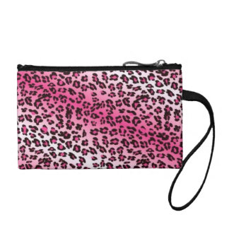 Leopard Print Pink & White Coin Purses