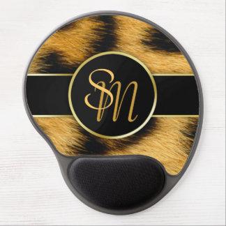 Leopard Print Precious Gold Initials Gel Mousepad