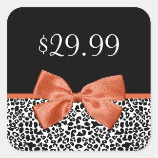 Leopard Print Price Tag Trendy Burnt Orange Ribbon Square Sticker