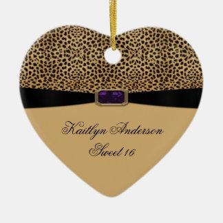 Leopard Print Purple Amethyst Jewel Sweet 16 Keeps Ceramic Heart Ornament